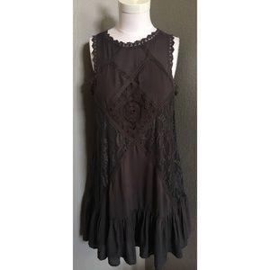Lace block tunic dress